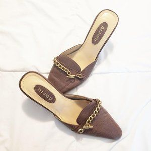 Bijou Brown Pebbled Leather Pointed Mules With Cha